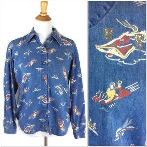 Winter Sled Scene on Denim Button Front Shirt M